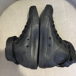 All leather black high top converse